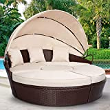 AECOJOY Patio Furniture Outdoor Round Daybed with