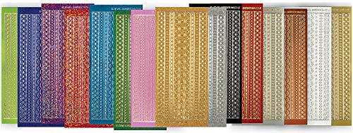 Border Paper Sticker - All 15 Jewel Border Dazzles Stickers by Hot Off The Press | 465 Craft Stickers for Card Making and Scrapbooking (Pack of 15 Sheets)