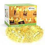 Ustellar Photo Peg Lights Battery Operated, 40 Clips 5.5M, 2 Modes, LED Photo Clip String Fairy Lights, Christmas Cards Hanger, Warm White, for Picture Notes Artwork Decoration Hanging