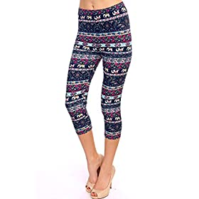 - 51 WbsmfdvL - VIV Collection Print Brushed Ultra Soft Cropped Capri Leggings Regular and Plus (Sizes XS – 2XL) Listing 1