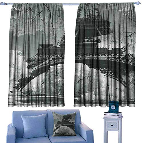 Black and White Curtain for Kids Eiffel Tower with Blossoming Trees Historical Paris Famous Landmark France Darkening and Thermal Insulating 63