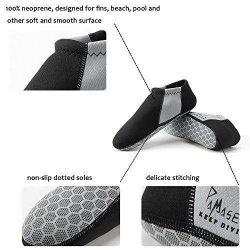 PAMASE 3mm Neoprene Snorkeling Water Fins Socks - Perfect for Beach Diving Swimming Surfing - Low Cut