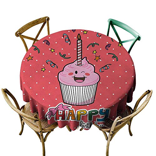 Wendell Joshua Blue Tablecloth 54 inch Birthday,Pink Strawberry Flavor Cupcake with Candle Cute Face Confetti Bow Tie and Dots,Multicolor Suitable for Indoor Outdoor Round -