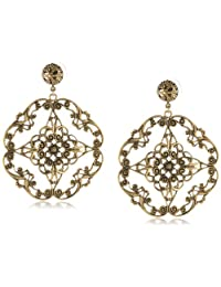 Yochi Gold Diamond Filigree Statement Earrings