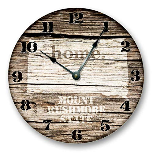 Fancy This South Dakota State Map Wall Clock Old Weathered Boards Rustic Cabin Country Decor