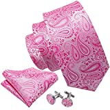 Barry.Wang Solid Pink Ties Wedding Party Tie Set with Hanky Cufflinks