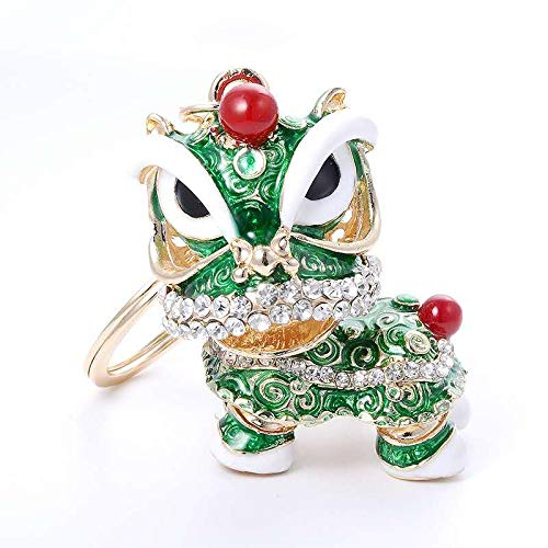 - Green Lion Car Keychain Chinese Traditional Culture Crafts Shining Crystal Diamond Metal Key Ring Home Decoration Blessing Gift