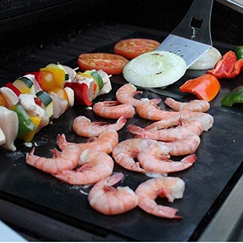 Grill Mat Set of 5-100/% Non-Stick Barbecue Black Works on Electric Grill Gas Barbecue 15.75 x 13 inch Reusable and Easy to Clean Heavy Duty