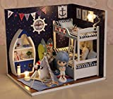 Flever Dollhouse Miniature DIY House Kit Creative Room With Furniture and Cover Plus Cute Doll For Romantic Artwork Gift(Face The Sky)