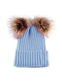 MIOIM Mother Child Winter Hat Womens Baby Knitted Beanies Fur Double Pompom Ski Cap