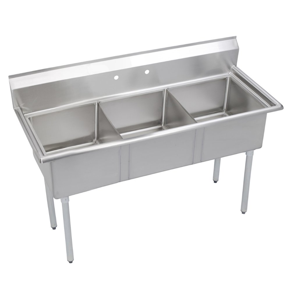 Fenix Sol Three Compartment Stainless Steel Sink, Bowl: 10''L x 14''W x 10''D, Overall Size: 35''L x 20''W x 43.75''H, No Drainboards, Galv Legs