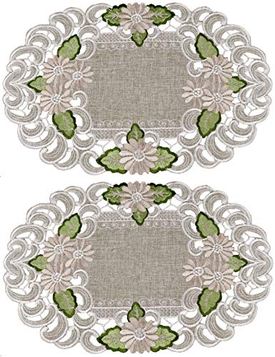 Linens, Art and Things Embroidered Gold Daisy on Green/Gray Place Mats or Doily 11 x 17 Inch Set of 2