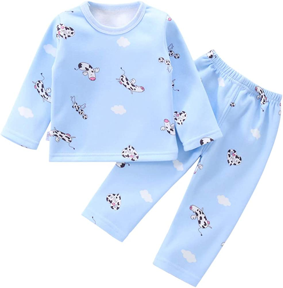 BenCreative Baby Boys Girls Pajamas Fleece Cotton Tops Pants Nightgown for 1-4 Years Children