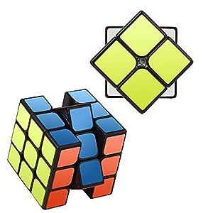 Speed Cube Set, Roxenda Magic Cube Set of 2x2x2 3x3x3 Cube Smooth Puzzle Cube