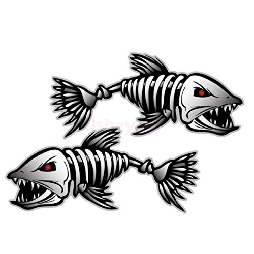 Fish Cymbals Big - Gull Castanets Label - 2pcs 15x6cm Skeleton Fish Bone Car Sticker Vinyl Decal Body Universal Decoration - Finger Cymbal Soft Touch Sucker Maraca Gummed Shlemiel Chump Fall Guy