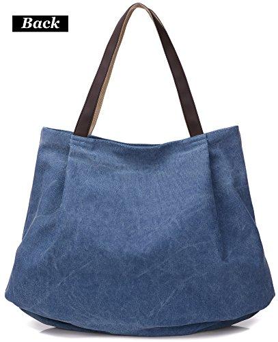 Canvas grey Tote Beach Bag Dccn Blue Shoulder WCRZnP