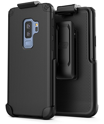 (Encased Belt Clip Case for Samsung Galaxy S9 Plus - (Nova Series) Slim Grip Case + Secure-fit Holster (Black))