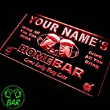 p-tm-r Name Personalized Custom Home Bar Beer Neon Light Sign in Red & Home Bar Green Coaster Gift Set