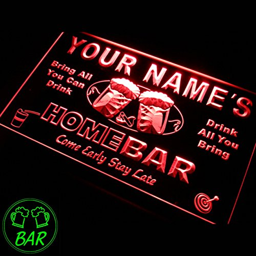 p-tm-r Name Personalized Custom Home Bar Beer Neon Light Sign in Red 16
