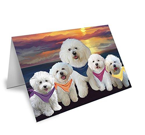 Family Sunset Portrait Bichon Frises Dog Note Card NCD54740 (10)