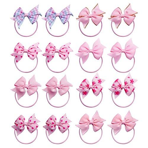 - KOONY Baby Girls Hair Bow Elastic Ties Ponytail Holders Hair Bands 16pc (Pink)