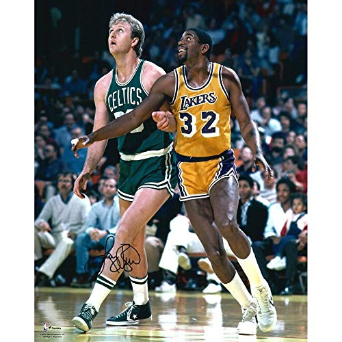 Larry Bird Boston Celtics FAN Autographed Signed 16x20 Rebound Vs Magic Johnson Photograph - Certified Signature