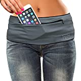 SevenBlu HIP - Fashion Money Belt/Extra Pocket/Running Belt - World's Best Stylish Travel Wallet or Mini Purse - with ZIPper - Fits iPhone 6 Plus - Your Smartphone Pocket (Gray L)