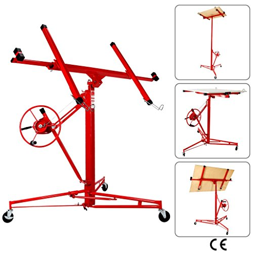 Artist Hand Drywall 11' Lift Hoist Panel Jack Lifter Caster Wheel Construction Tool Red ()