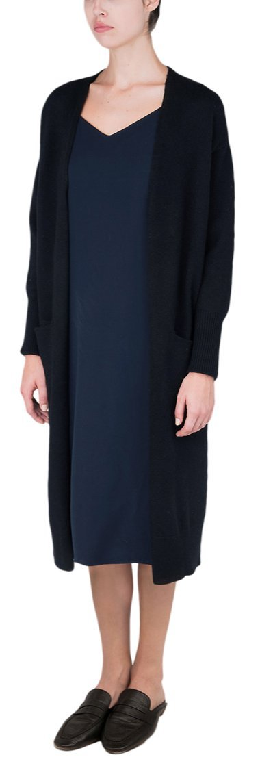 100% Pure Mongolian Cashmere Long Cardigan For Women (Black, M) by P.CASHMERE NYC