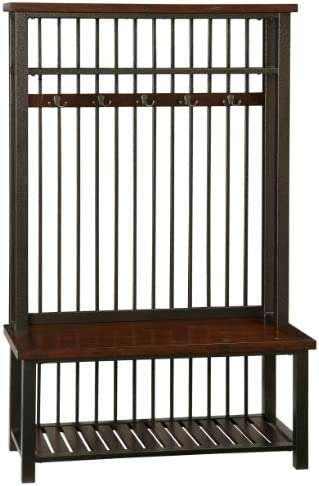 Kings Brand Furniture Entryway Hall Tree with Mirror Coat Hooks Storage Bench, Walnut