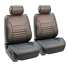 FH Group PU206GRAY102 Gray Multifunctional Quilted Leather Front Seat Cushion, Set of 2 (W. Seatback Organizer Storage - Airbag Safe)