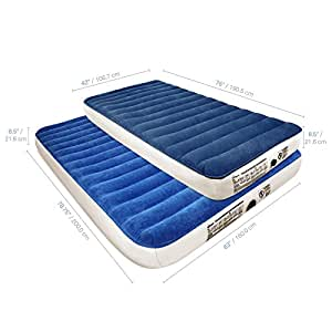 SoundAsleep Camping Series Air Mattress with Eco-Friendly PVC - Queen Size with Included Rechargable Air Pump