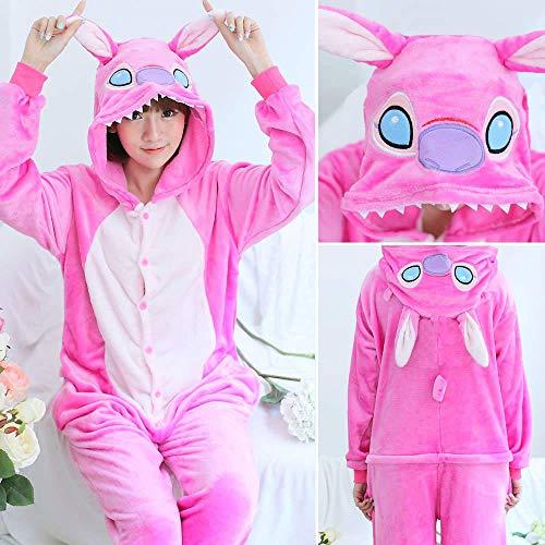 Warm Flannel Pajamas for Women Pajama Couples Cartoon Sleepwear Adult Animal Onsies Adulto Unicorn Panda Stitch Pijamas Pink Stitch XL -