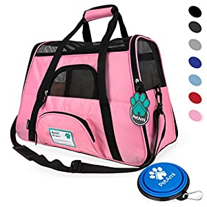 PetAmi Premium Airline Approved Soft-Sided Pet Travel Carrier by Ventilated, Comfortable Design with Safety Features | Ideal for Small to Medium Sized Cats, Dogs, and Pets (Small, Pink)