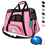 Premium Airline Approved Soft-Sided Pet Travel Carrier by PetAmi | Ventilated, Comfortable Design with Safety Features | Ideal for Small to Medium Sized Cats, Dogs, and Pets (Small, Pink)