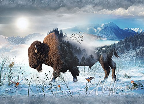 Bison Fabric Panel - Call of the Wild Digital Print - 30