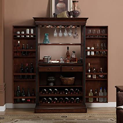amazon com ashley heights home bar wine cabinet kitchen dining rh amazon com hanging wine bar cabinet bar wine cabinet wood