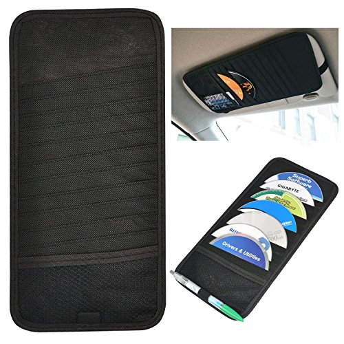 Price comparison product image SunTrade 11 CD DVD Dis Car Universal Sun Visor Organizer Pocket Storage Pouch Holder(Style 4, Black)