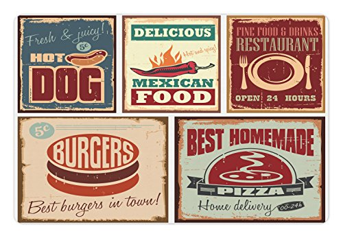 Aged Tin (Ambesonne Retro Pet Mat for Food and Water, Nostalgic Tin Signs and Mexican Food Prints Aged Advertising Logo Style Artistic Design, Rectangle Non-Slip Rubber Mat for Dogs and Cats, Multi)