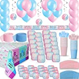 Gender Reveal Party Supplies for 48 - Two Size Plates + Cups + Napkins + Cutlery + Tablecloths, Balloons + Banner + Hanging Decorations + Streamers - Ultimate Baby Shower Supply & Decorations Set