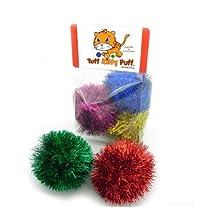 Jumbo Sparkle Ball Tuff Kitty Puff Cat Toy -6 Pak