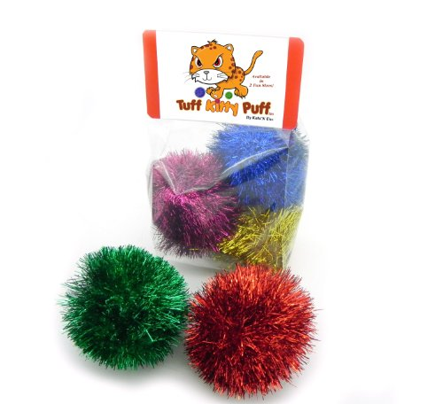 Jumbo Sparkle Ball Tuff Kitty Puff Cat Toy -6 Pak