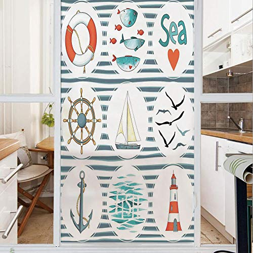 Decorative Window Film,No Glue Frosted Privacy Film,Stained Glass Door Film,Sea Set with Fishes Lifebuoy Gulls Lighthouse Marine Inspired Maritime Theme,for Home & Office,23.6In. by 78.7In White Red B - Lighthouse Octagon Mirror