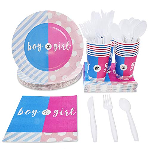 """Juvale Gender Reveal Party Supplies - Serves 24 - """"Boy or Girl"""" Disposable Dinnerware Paper Plates, Napkins, and Cups, Pink and -"""