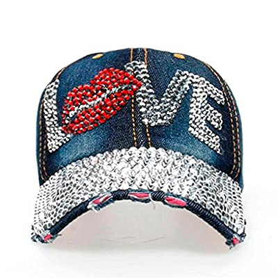 Women Men LOVE Cute Denim Rhinestone Baseball Cap Snapback Hip Hop Flat Fashion Hat from Litetao