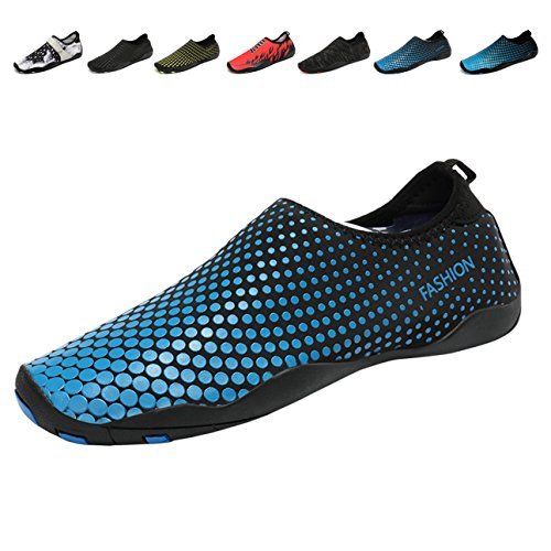 Demetry Unisex Quick-Dry Wasserschuhe Leichte Aqua Socken zum Schwimmen, Wandern, Yoga, Strand, Wasserpark 2-blau