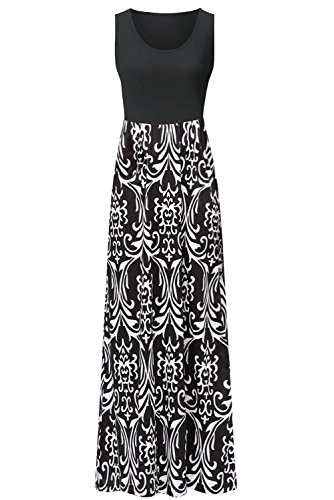 (Zattcas Womens Summer Contrast Sleeveless Tank Top Floral Print Maxi Dress Black White Medium)
