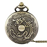 WZC Antiqued Dragon Quartz Pocket Watch