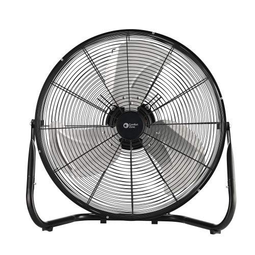 Comfort Zone CZHV20B 20-inch 3-Speed High-Velocity Floor Fan with 180-Degree Adjustable Tilt