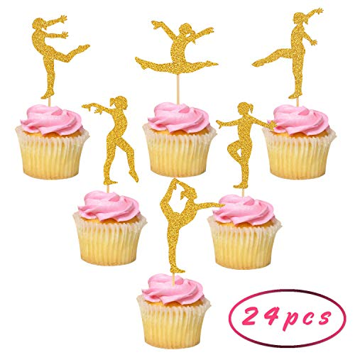 (Gymnastics Cupcake Toppers for Gymnast Theme Party, Girls Birthday Party Supplies, Baby Showr Cupcake Decorations, Gold Glitter, Pre-assembled, Set of)